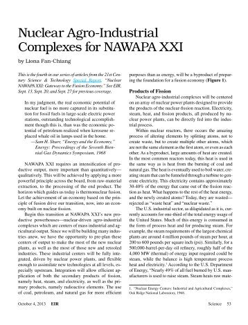 Nuclear Agro-Industrial Complexes for NAWAPA XXI
