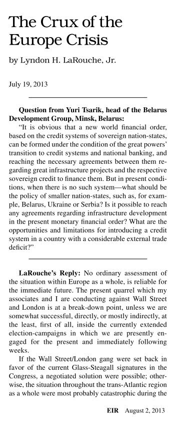 Reply to Yuri Tsarik: The Crux of the Europe Crisis