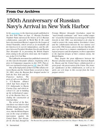 150th Anniversary of Russian Navy's Arrival in New York Harbor