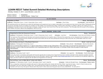 LEARN RÉCIT Tablet Summit Detailed Workshop Descriptions