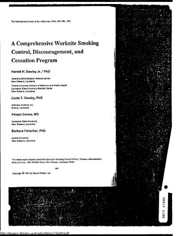 A Comprehensive Worksite Smoking - Legacy Tobacco Documents ...