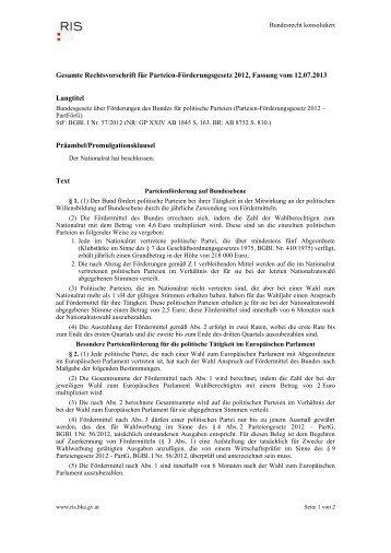 Gesamte Rechtsvorschrift für Parteien ... - Legislationline