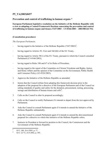 European Parliament legislative resolution on the ... - Legislationline