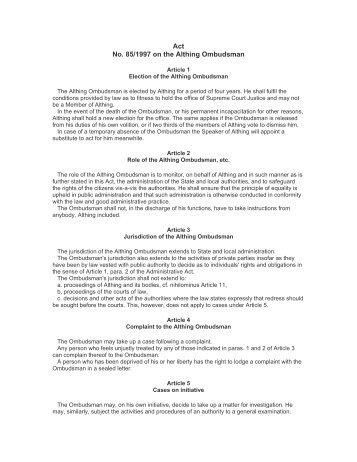 Act No. 85/1997 on the Althing Ombudsman - Legislationline