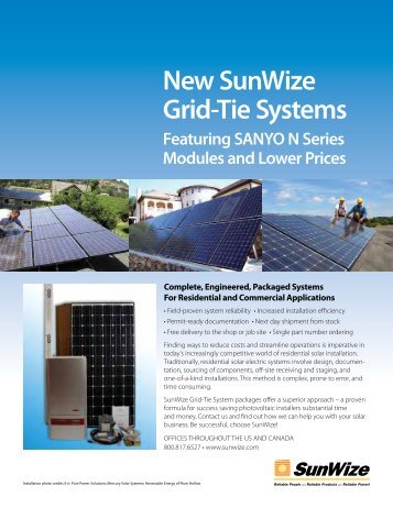 New SunWize Grid-Tie Systems