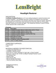 LensBright UV Headlight Restoration Information and Directions
