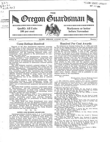 Vol. 10, no. 7 (August 1930) - Oregon State Library: State Employee ...