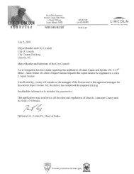 Application - City of Lincoln & Lancaster County - State of Nebraska