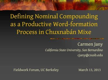 Nominal Compounding as a Productive Word-formation Process in ...