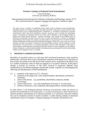 17-31 - Linguistics - University of California, Berkeley