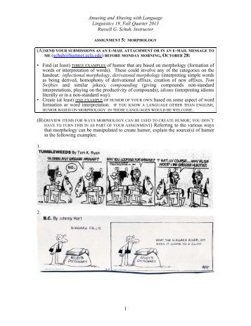 Assignment 5: Morphology - UCLA Department of Linguistics