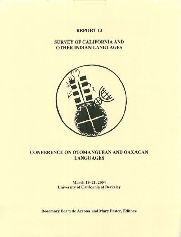 survey of california and other indian languages ... - Linguistics