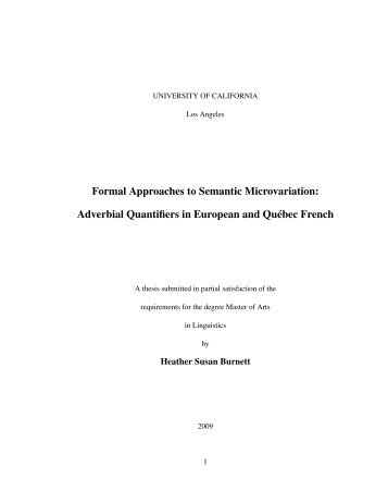 Formal Approaches to Semantic Microvariation: Adverbial ...