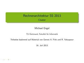 Rechnerarchitektur SS 2013 - Cluster - TU Dortmund