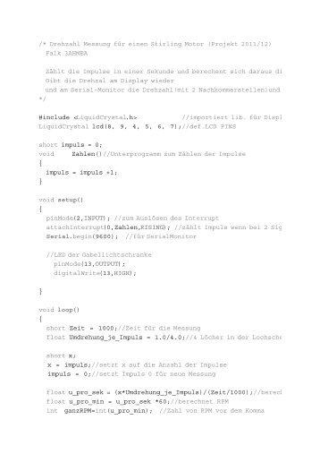 /* Drehzahl Messung für einen Stirling Motor (Projekt ... - HTL Wien 10