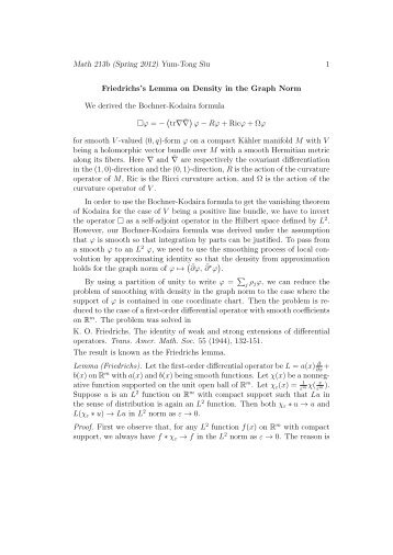 Friedrichs's Lemma on Density in the Graph Norm