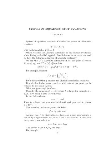 SYSTEM OF EQUATIONS, STIFF EQUATIONS System of equations ...