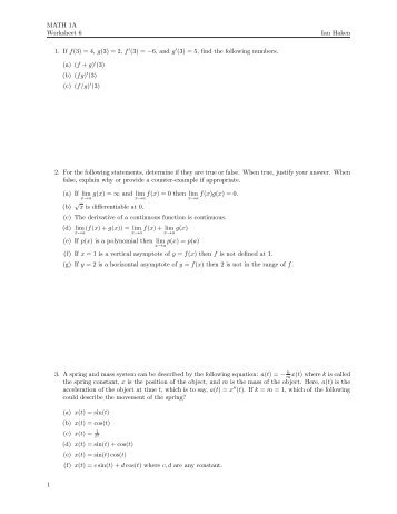 Worksheet 6