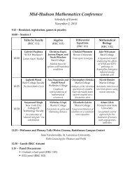 Conference Schedule - Mathematics - Bard College