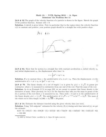 Math 1A — UCB, Spring 2010 — A. Ogus Solutions1 for Problem Set ...