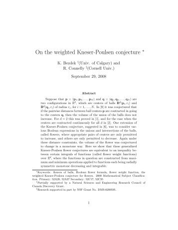 On the weighted Kneser-Poulsen conjecture - Mathematics and ...