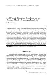 Social anxiety dimensions, neuroticism, and the contours of positive ...