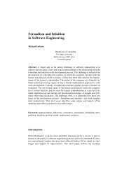 Formalism and Intuition in Software Engineering - Faculty of Maths ...