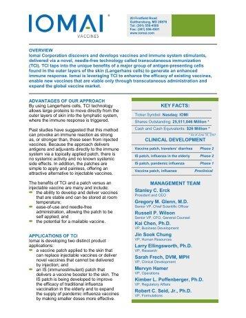 KEY FACTS: CLINICAL DEVELOPMENT MANAGEMENT TEAM ...