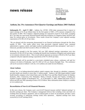 Anthem, Inc. Pre-Announces First Quarter Earnings and Raises ...