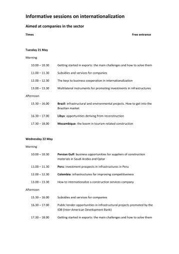 Informative sessions on internationalization