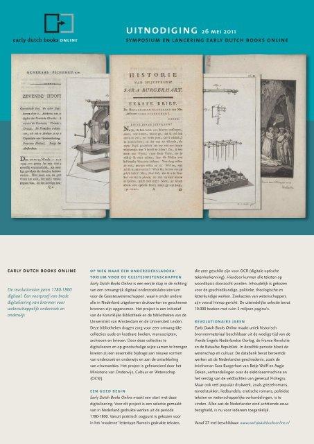 Early Dutch Books Online - Universiteit Leiden