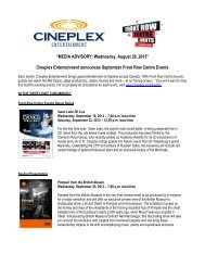 *MEDIA ADVISORY: Wednesday, August 28, 2013 ... - Cineplex.com