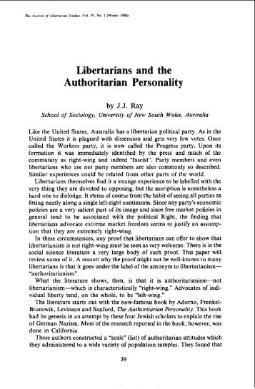Libertarians and the Authoritarian personality