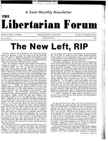 The New Left: R.I.P. - Ludwig von Mises Institute