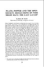 PLATO, POPPER AND THE OPEN SOCIETY: REFLECTIONS ON ...