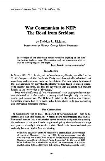 War Communism to NEP: The Road from Serfdom - Ludwig von ...