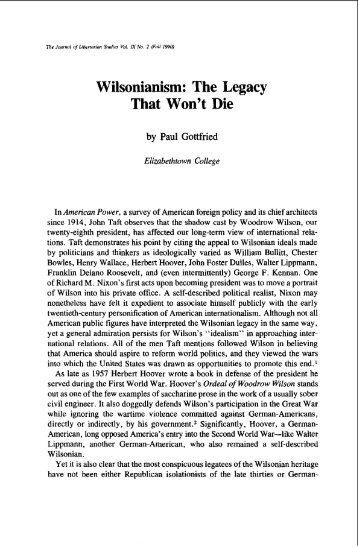 Wilsonianism: The Legacy That Won't Die