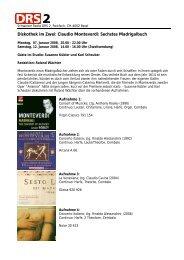 Diskothek im Zwei: Claudio Monteverdi: Sechstes Madrigalbuch