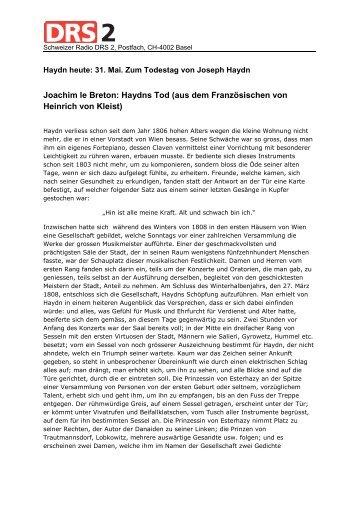 Joachim le Breton: Haydns Tod (aus dem Französischen von ...