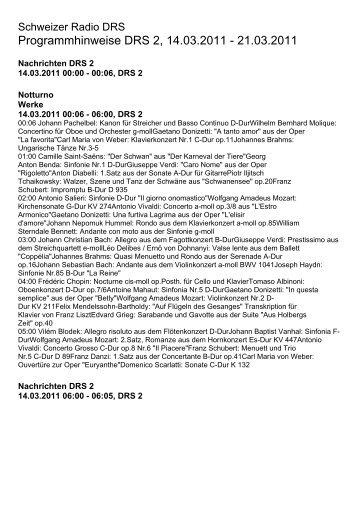 Programmhinweise DRS 2, 14.03.2011 - 21.03.2011