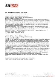 Die «Hörstatt»-Hörspiele auf DRS 1