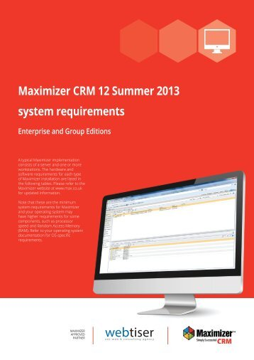System requirements of Maximizer CRM 12 Summer 2013