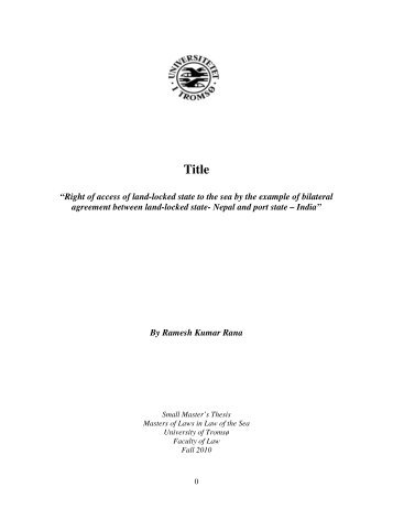 """""""Right of access of land-locked state to the sea by the ... - Munin"""