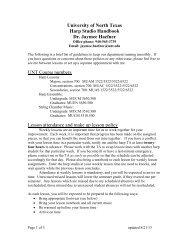 University of North Texas Harp Studio Handbook ... - College of Music
