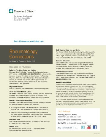 Rheumatology Connections - Cleveland Clinic