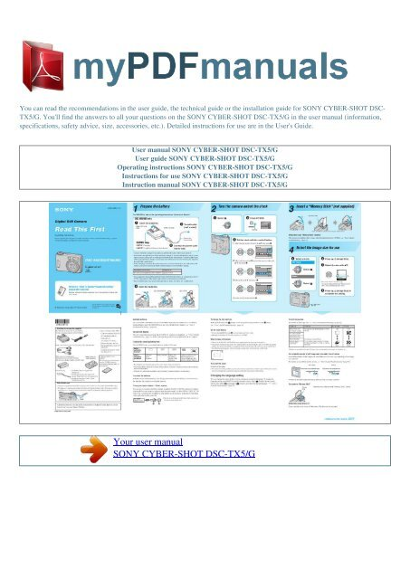 List of sony cyber-shot dsc-p200 user manuals, operating.