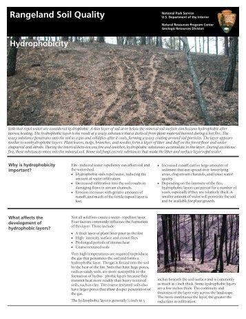 Rangeland Soil Quality Hydrophobicity - National Park Service