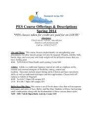 PES Course Offerings & Descriptions Spring 2014