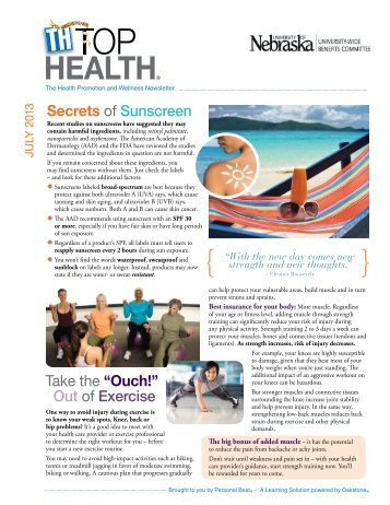 """Secrets of Sunscreen Take the """"Ouch!"""" Out of Exercise"""