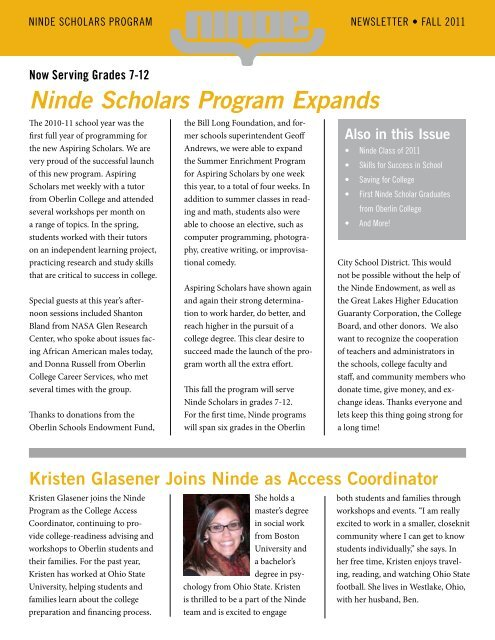 Ninde Scholars Program Expands - Oberlin College